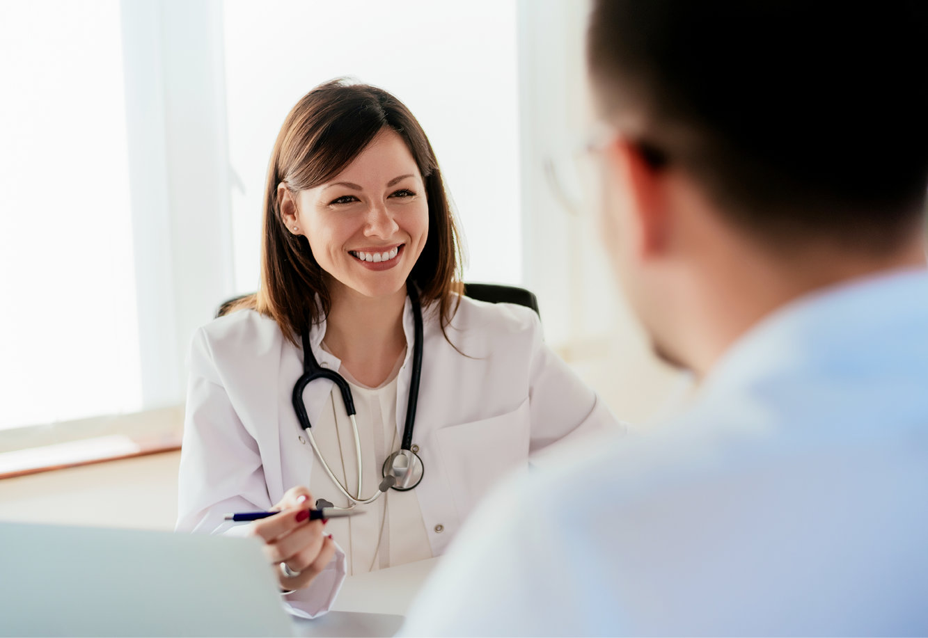 Photo of a medical cannabis doctor talking with her client