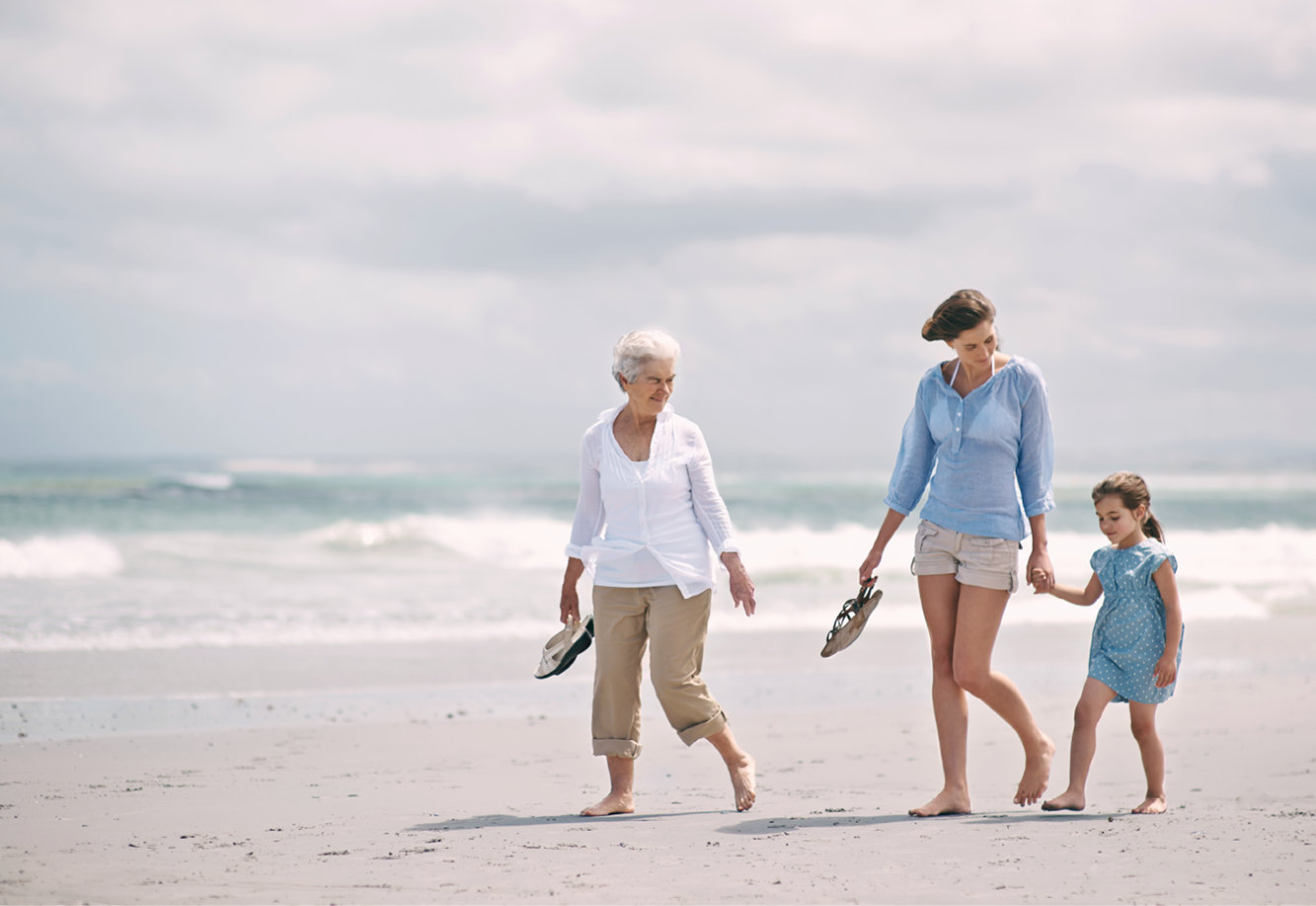 Photo of a family walking on a beach