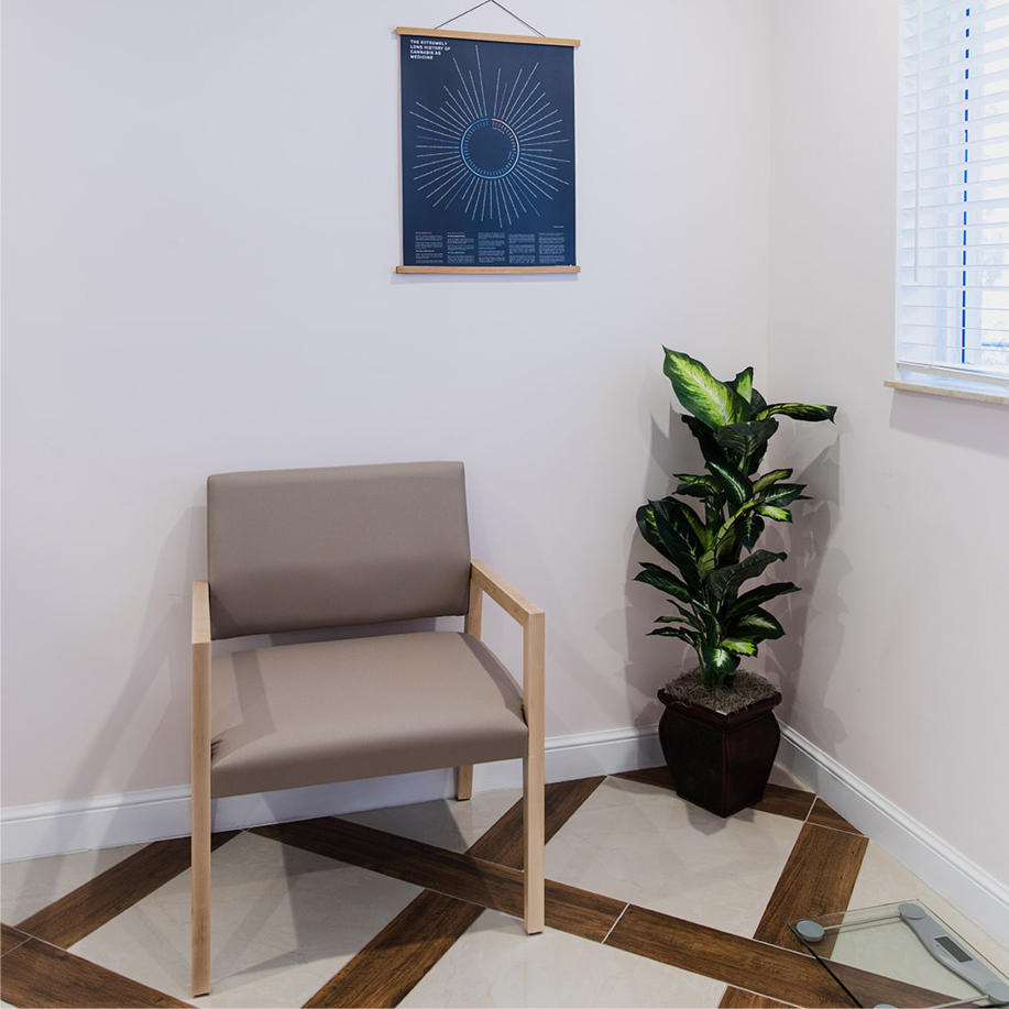 Photo of a green plant next to a chair at Canna Wellness Clinics in Boynton Beach Florida