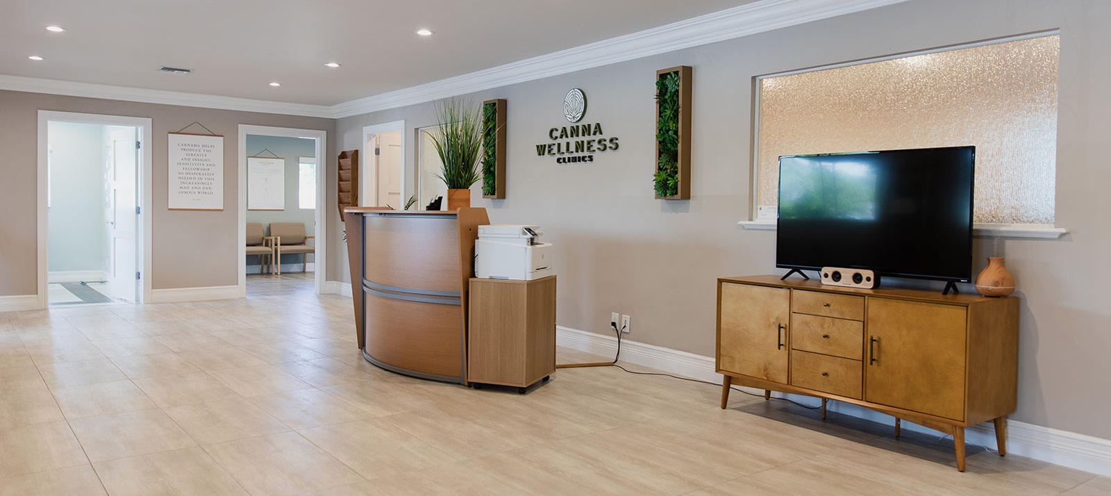 Photo of the welcome desk at Canna Wellness Clinics in Boynton Beach Florida