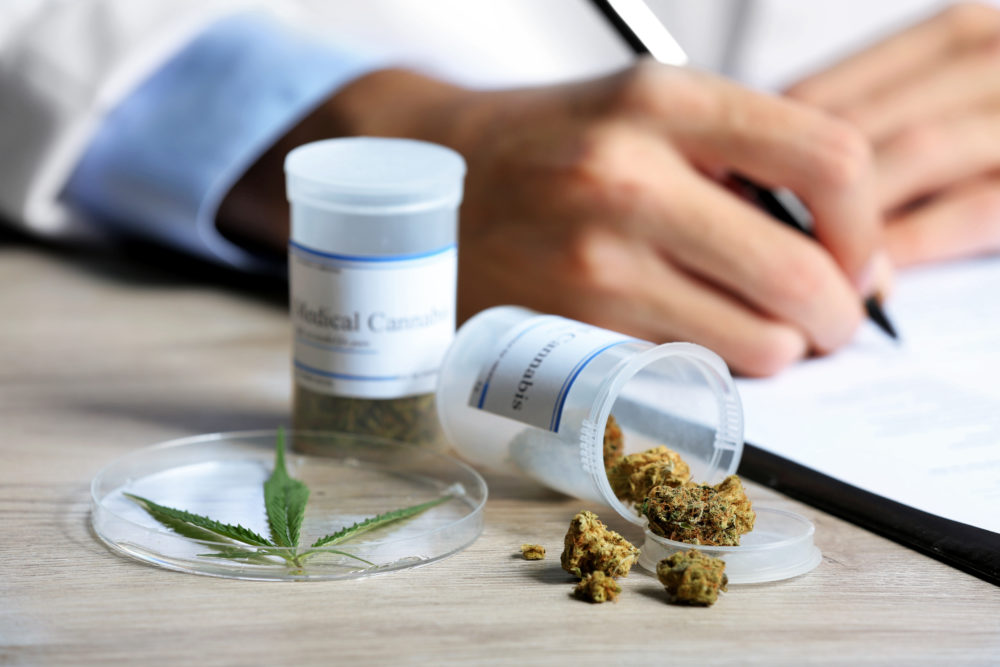 A doctor write a medical marijuana script.